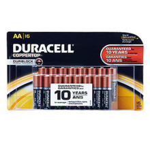 NEW AA Batteries, Pack of 16, Duracell Coppertop Alkaline - Free Shipping