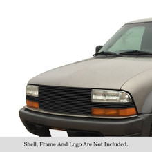 1998 Chevy S-10   Black Stainless Steel Billet Grille - APS-GR03HFH13J-1998