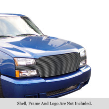 2002 Chevy Avalanche   Stainless Steel Billet Grille - APS-GR03HEJ26S-2002B