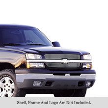 2003 Chevy Avalanche 1500   Stainless Steel Billet Grille - APS-GR03HEC17S-2003G