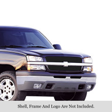 2003 Chevy Avalanche 1500   Black Stainless Steel Billet Grille - APS-GR03HEC17J-2003G