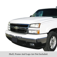 2003 Chevy Avalanche   Stainless Steel Billet Grille - APS-GR03HEC02C-2003F
