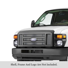 2009 Ford E-Series   Stainless Steel Billet Grille - APS-GR06FFF58S-2009B
