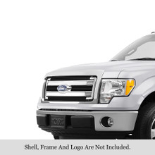 2013 Ford F-150 XL  Black Stainless Steel Billet Grille - APS-GR06FEI24J-2013A