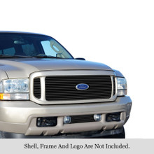 1999 Ford Excursion   Black Stainless Steel Billet Grille - APS-GR06FAA42J-1999A
