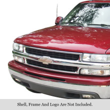 2003 Chevy Avalanche   Black Stainless Steel Billet Grille - APS-GR03FFE69J-2003B