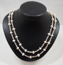 White and Soft Pink Pearl Rope
