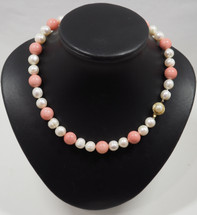 Coral and White Pearl Necklace