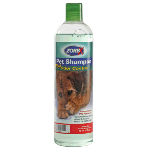 Eliminate pet odors in your pet's fur with ZORBX safe and non-toxic 7.5 oz. Unscented Pet Shampoo