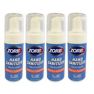 ZORBX 80% Alcohol Hand Sanitizer Pump 4 oz  Bottle Value Pack ( 4 bottles)