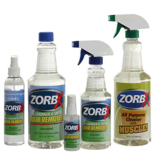 Eliminate odors and grease stains instantly with ZORBX unscented five piece value pack