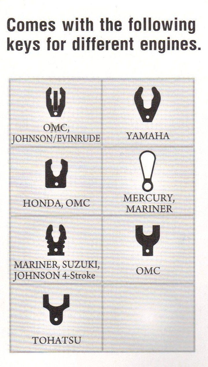 Universal Boat Kill Switch Lanyard fit chart for Johnson, Evinrude, Honda, Yamaha, Suzuki, Mercury Nissan, and Tohatsu motors