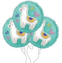 Llama Celebration Selfie Themed Mylar Balloons - 3 Pack