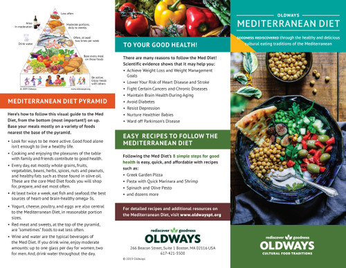 Oldways Welcome to the Mediterranean Diet Trifold Brochure Front