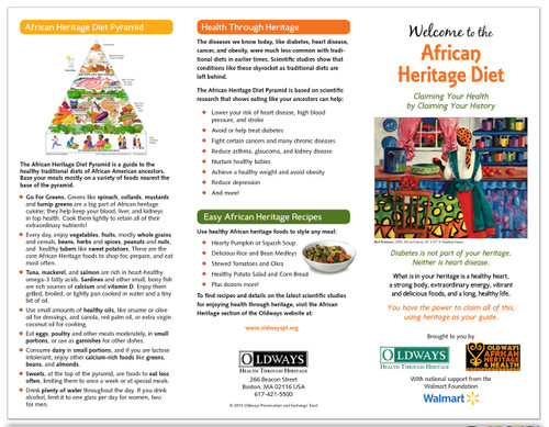 Oldways Welcome to the African Heritage Diet Trifold Brochure Front