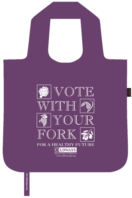 Oldways vote with your fork bag in aubergine