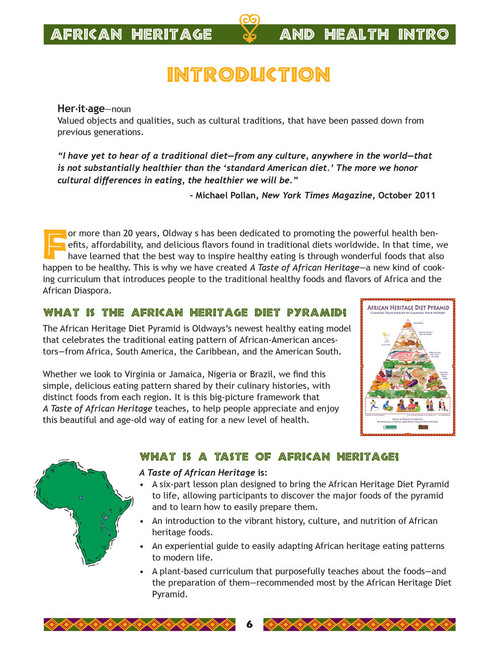 A Taste of African Heritage Student Handbook Introduction