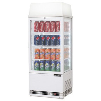 Bromic CT0080G4LW Countertop Beverage Chiller w/Lightbox Flat Glass - 78 Litre