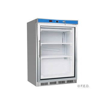 Single Door Stainless Steel Display Freezer with Glass Door 129L