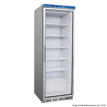 Single Door Stainless Steel Display Freezer with Glass Door 361L