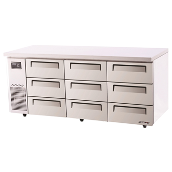 Turbo Air Range Undercounter Drawer Fridge 9 Drawers 538lt