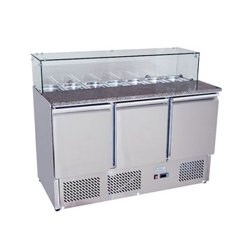 Snowman BE1365 Stainless Steel 3 Solid Doors Preperation Fridge with Glass Cover Salad Bar