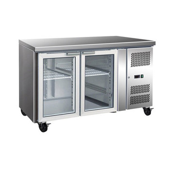 TROPICALISED Two Glass Door Gastronorm Bench Fridge (GN2100TNG)