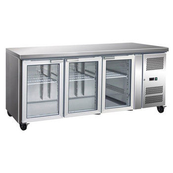 FED TROPICALISED Three Glass Door Gastronorm Bench Fridge