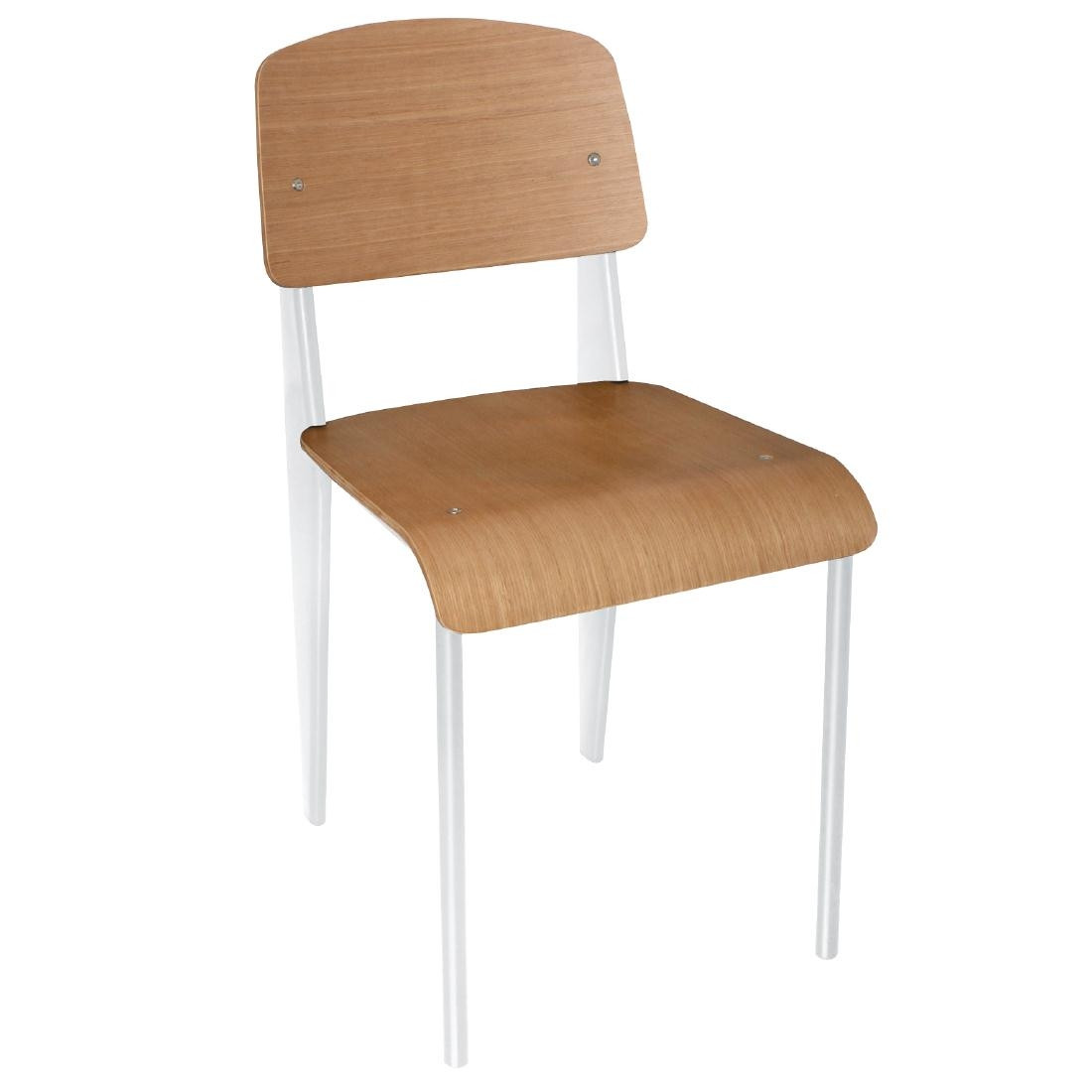 Bolero Wooden Dining Chairs With White Steel Frame Pack Of 4