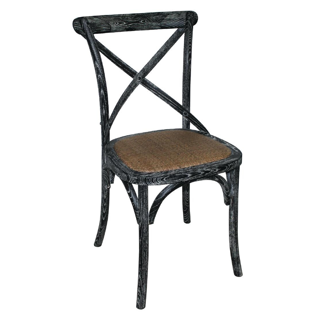 Bolero Black Wooden Dining Chairs With Backrest Pack Of 2