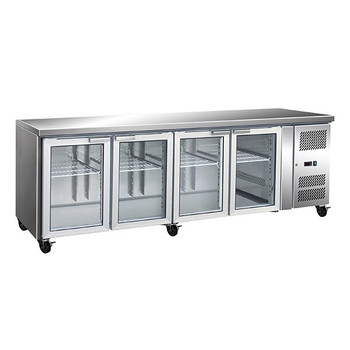 TROPICALISED Stainless Steel Four Glass Door Gastronorm Bench Fridge (GN4100TNG)