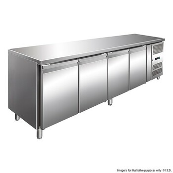 TROPICALISED Stainless Steel Four Door Gastronorm Bench Fridge (GN4100TN)