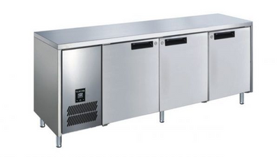 Slimline 660mm Deep 3 Door S/S Under bench Fridge