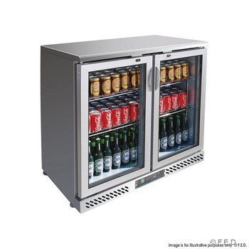 Two Door Stainless Steel Bar Cooler with castors (SC248SG)