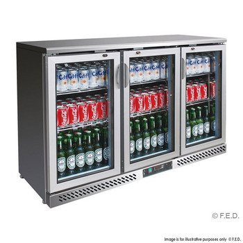 Three Door Stainless Steel Bar Cooler with castors (SC316SG)
