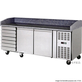Two Door Stainless Steel Workbench Fridge with Marble Benchtop and Drawers (THPZ2610TN)