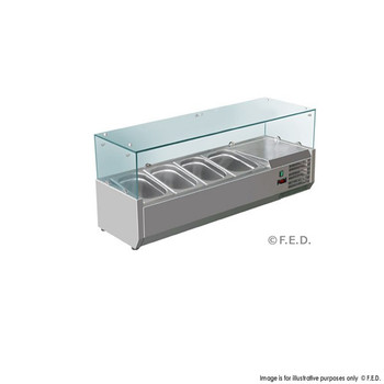 Deluxe Stainless Steel Pizza, Salad, Sandwich Top (4 Pans) (VRX1200/380)