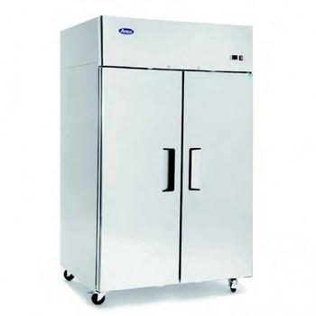 Stainless Steel Upright Double Door Dual Temperature Fridge and Freezer