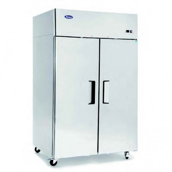 Stainless Steel Upright Double Door Dual Temperature Fridge and Freezer