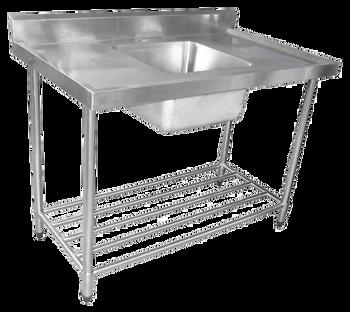 600mm Single Sink with Splashback and Adjustable Pot Rack (06-600L )
