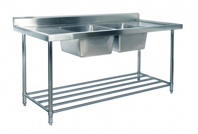 1500mm Double Sink with Splashback and Adjustable Pot Rack (07-1500L)