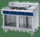 Blue Seal G518C-CB Gas Cooktop 6 Burner with 300mm Griddle aside On Open Cabinet Base