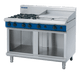 Blue Seal G518B-CB Gas Cooktop 4 Burner with 600mm Griddle aside On Open Cabinet Base