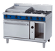 Blue Seal G508B Gas Cooktop 4 Burner with 600mm Griddle on Static Gas Oven Below
