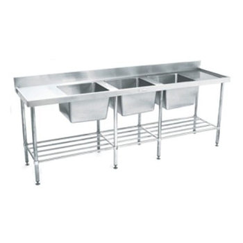 Simply Stainless Triple Bowl Sink Bench