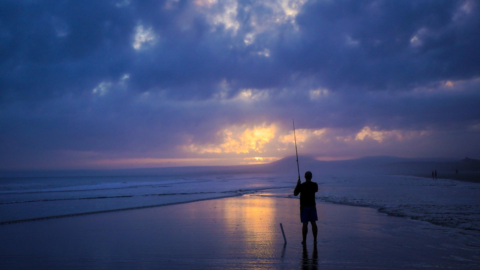 Man Sea Fishing
