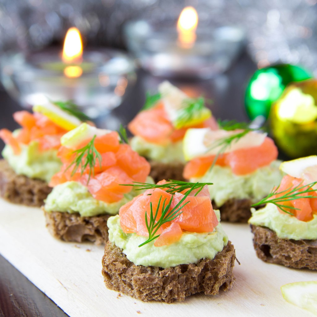 Smoked Salmon and Avocado Canapes