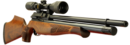 Keen's Tackle & Guns Stock The Air Arms S510 Walnut Multi-Shot Air Rifle with fully shrouded barrel and 10 shot magazine.