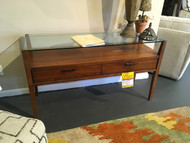 Wood Console with Glass Top