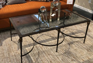Metal and Glass Transitional Cocktail Table